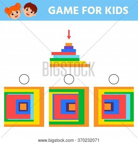 Educational Game For Kids And Adults Development Of Logic Iq. Find A Top View Of A Figure And Mark T