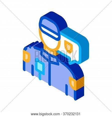 Police Officer Icon Vector. Isometric Police Officer Sign. Color Isolated Symbol Illustration