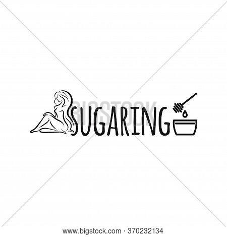 Beautiful Female Shugaring Logo Design. Suitable For Shugaring Salon. Body Hair Removal. Natural Col
