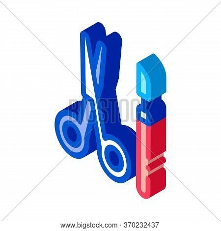 Surgical Scalpel And Scissors Icon Vector. Isometric Surgical Scalpel And Scissors Sign. Color Isola