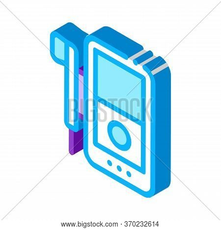 Listening To Music Through Player Icon Vector. Isometric Listening To Music Through Player Sign. Col