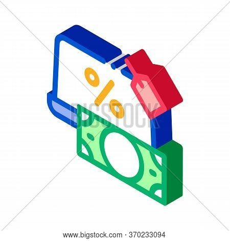 Give Laptop To Pawnshop Icon Vector. Isometric Give Laptop To Pawnshop Sign. Color Isolated Symbol I