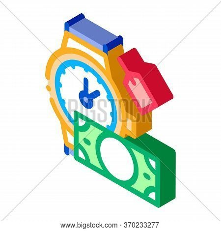 Hand Over Wristwatch For Money To Pawnshop Icon Vector. Isometric Hand Over Wristwatch For Money To