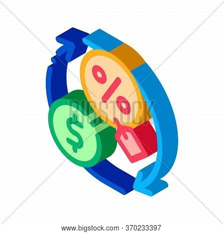 Cycle Of Money And Interest Icon Vector. Isometric Cycle Of Money And Interest Sign. Color Isolated