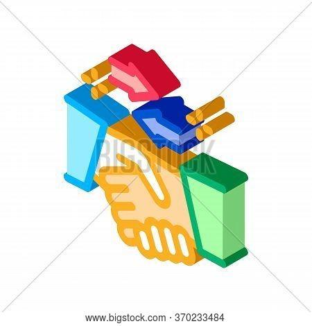 Handshake Exchange Agreement Icon Vector. Isometric Handshake Exchange Agreement Sign. Color Isolate