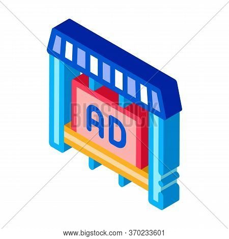 Advertising In Counter Store Icon Vector. Isometric Advertising In Counter Store Sign. Color Isolate