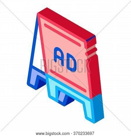 Folding Billboard Icon Vector. Isometric Folding Billboard Sign. Color Isolated Symbol Illustration