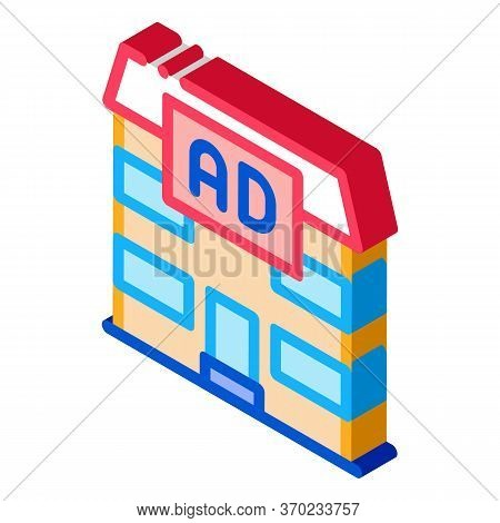 Residential Ad Icon Vector. Isometric Residential Ad Sign. Color Isolated Symbol Illustration