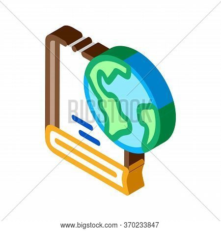 History Of Geography Science Icon Vector. Isometric History Of Geography Science Sign. Color Isolate