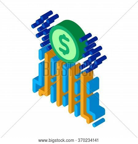 Cash Flow Icon Vector. Isometric Cash Flow Sign. Color Isolated Symbol Illustration