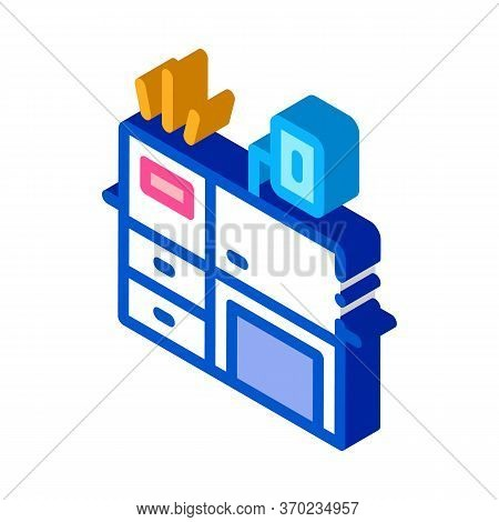 Workplace Desk Icon Vector. Isometric Workplace Desk Sign. Color Isolated Symbol Illustration