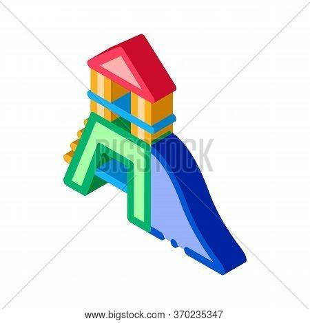 Attraction Children Slide Icon Vector. Isometric Attraction Children Slide Sign. Color Isolated Symb