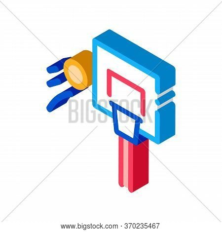 Basketball Hoop And Flying Ball Icon Vector. Isometric Basketball Hoop And Flying Ball Sign. Color I