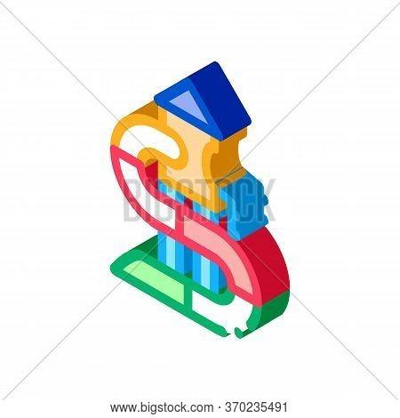 Kids Slide Water Park Icon Vector. Isometric Kids Slide Water Park Sign. Color Isolated Symbol Illus