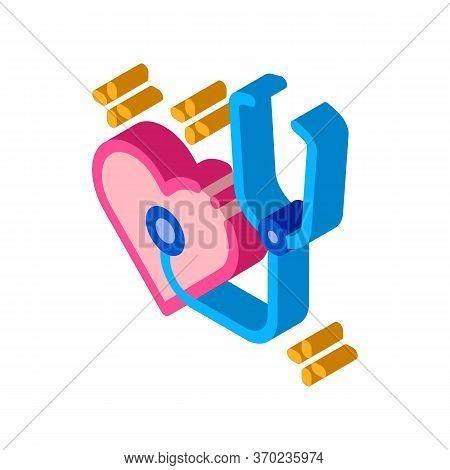 Heart Beat Measurements Icon Vector. Isometric Heart Beat Measurements Sign. Color Isolated Symbol I