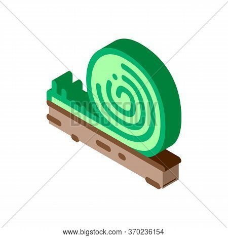 Rolled Artificial Turf Icon Vector. Isometric Rolled Artificial Turf Sign. Color Isolated Symbol Ill