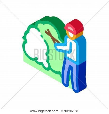Gardener With Secateurs Icon Vector. Isometric Gardener With Secateurs Sign. Color Isolated Symbol I