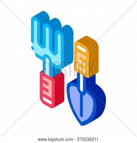 Hand Rake And Shovel Tools Icon Vector. Isometric Hand Rake And Shovel Tools Sign. Color Isolated Sy