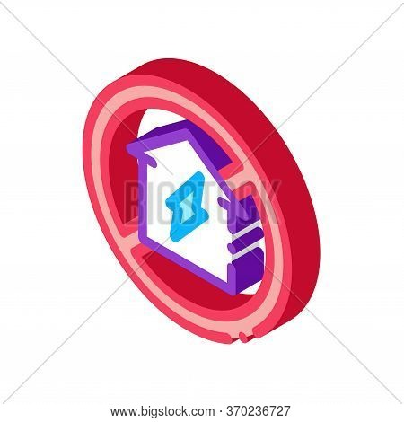House Sign In Ruin Icon Vector. Isometric House Sign In Ruin Sign. Color Isolated Symbol Illustratio