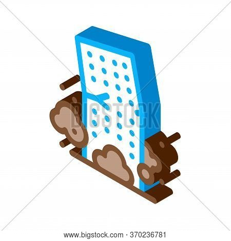 High-rise Building Collapse Icon Vector. Isometric High-rise Building Collapse Sign. Color Isolated