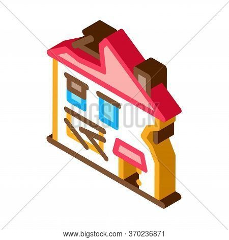 Ruined House Icon Vector. Isometric Ruined House Sign. Color Isolated Symbol Illustration