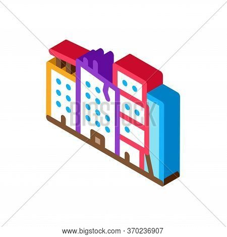 Destroyed High-rise Buildings Icon Vector. Isometric Destroyed High-rise Buildings Sign. Color Isola