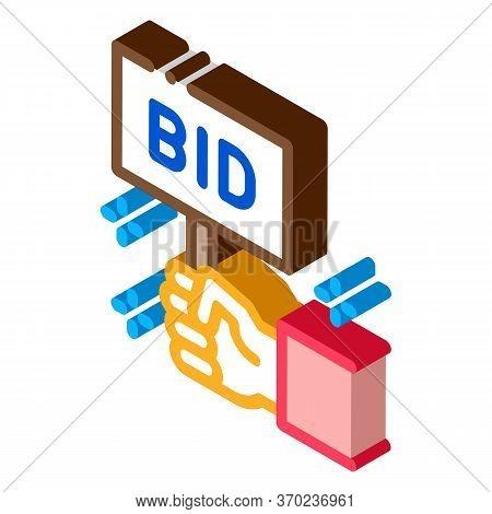 Bid Sign Icon Vector. Isometric Bid Sign Sign. Color Isolated Symbol Illustration