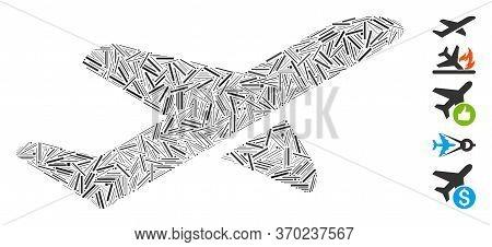 Line Mosaic Based On Airplane Takeoff Icon. Mosaic Vector Airplane Takeoff Is Created With Scattered