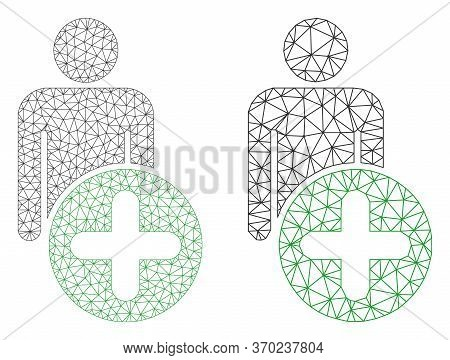 Net Vector Add Man Figure Icon. Mesh Wireframe Add Man Figure Image In Lowpoly Style With Organized