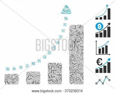 Line Mosaic Based On Bar Chart Trend Icon. Mosaic Vector Bar Chart Trend Is Composed With Scattered