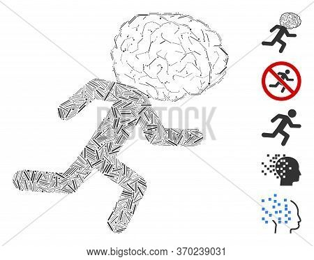 Hatch Mosaic Based On Brain Drain Icon. Mosaic Vector Brain Drain Is Composed With Scattered Hatch D