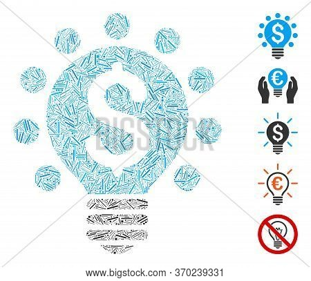 Line Mosaic Based On Business Patent Bulb Icon. Mosaic Vector Business Patent Bulb Is Composed With