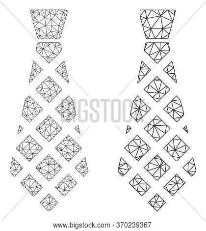 Triangular Vector Checkered Tie Icon. Mesh Wireframe Checkered Tie Image In Lowpoly Style With Struc