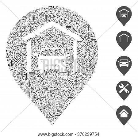 Dash Mosaic Based On Car Garage Marker Icon. Mosaic Vector Car Garage Marker Is Composed With Random