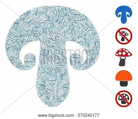Dash Mosaic Based On Champignon Mushroom Icon. Mosaic Vector Champignon Mushroom Is Composed With Sc