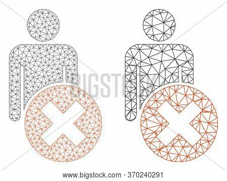 Mesh Vector Delete Man Icon. Mesh Wireframe Delete Man Image In Lowpoly Style With Connected Triangl