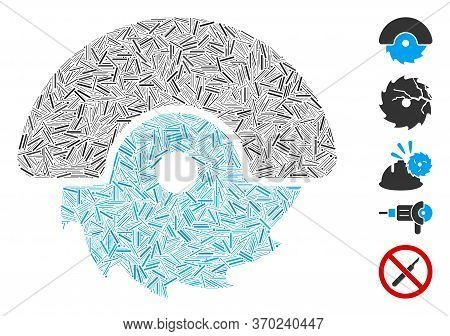 Hatch Mosaic Based On Circular Cutter Icon. Mosaic Vector Circular Cutter Is Designed With Random Ha