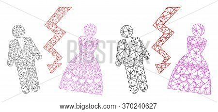 Mesh Vector Divorce Persons Icon. Mesh Wireframe Divorce Persons Image In Lowpoly Style With Connect