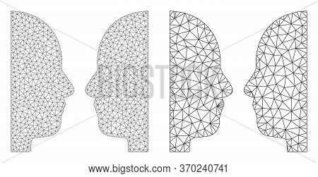 Mesh Vector Dual Face Icon. Mesh Carcass Dual Face Image In Low Poly Style With Connected Triangles,
