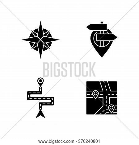 Navigation Black Glyph Icons Set On White Space. Modern Land And Marine Navigation Silhouette Symbol
