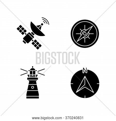 Navigation Black Glyph Icons Set On White Space. Sea Navigation And Radiolocation Silhouette Symbols