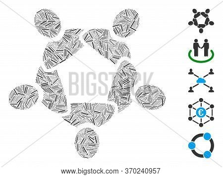 Line Mosaic Based On Collaboration Icon. Mosaic Vector Collaboration Is Designed With Scattered Line