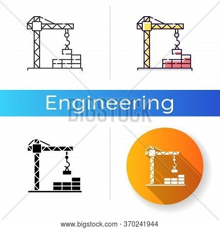 Construction Site Icon. Crane For Building And Lifting Concrete. Worker For Urban Constructing Of Ap