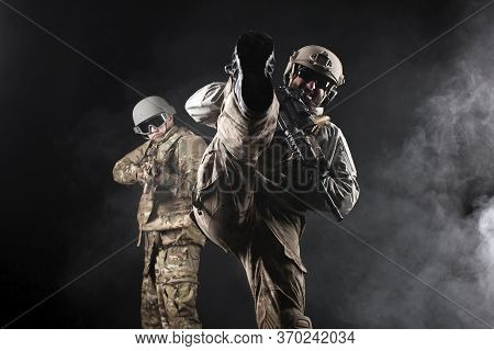 American Special Forces On Special Missions At Night, Two Rangers In Military Equipment And Weapons