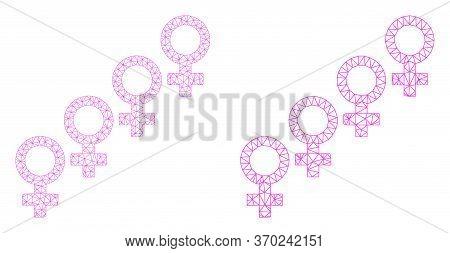 Net Vector Female Cohort Symbol Icon. Mesh Wireframe Female Cohort Symbol Image In Lowpoly Style Wit