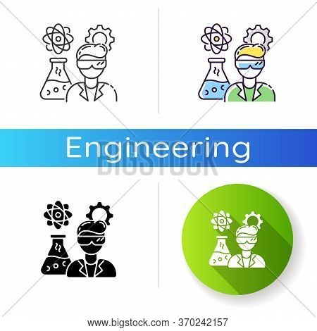 Chemical Engineer Icon. Biochemical Specialist. Professional For Biotechnology Experiment. Scientifi