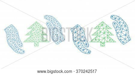 Network Vector Fir Tree Care Hands Icon. Mesh Wireframe Fir Tree Care Hands Image In Lowpoly Style W