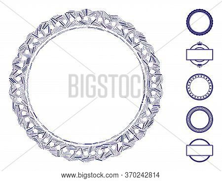 Line Mosaic Based On Dotted Rosette Circular Frame Icon. Mosaic Vector Dotted Rosette Circular Frame