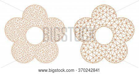 Mesh Vector Flower Icon. Mesh Wireframe Flower Image In Lowpoly Style With Organized Triangles, Poin