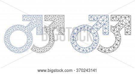 Mesh Vector Gay Couple Symbol Icon. Polygonal Carcass Gay Couple Symbol Image In Low Poly Style With